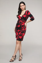 Load image into Gallery viewer, Red & Black Floral Ruffled Surplice Dress