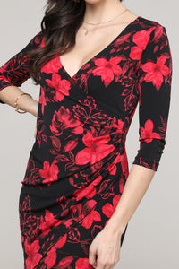 Red & Black Floral Ruffled Surplice Dress