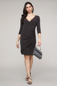 Brown Ruffled Surplice Dress