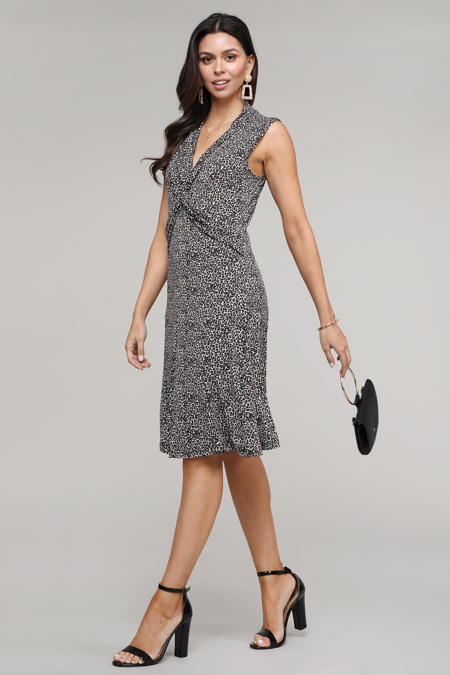 Leopard Twist Front Sleeveless Collared Dress