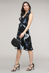 Floral Twist Front Sleeveless Collared Dress