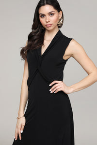 Black Twist Front Sleeveless Collared Dress