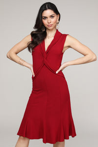 Red Twist Front Sleeveless Collared Dress