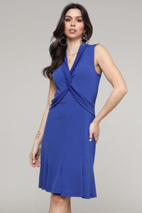Royal Blue Twist Front Sleeveless Collared Dress