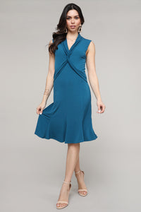 Teal Twist Front Sleeveless Collared Dress