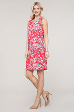 Load image into Gallery viewer, Red and Ivory Floral Sleeveless Dress