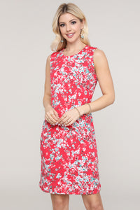 Red and Ivory Floral Sleeveless Dress