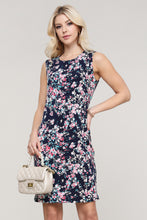Load image into Gallery viewer, Navy and Pink Floral Sleeveless Dress