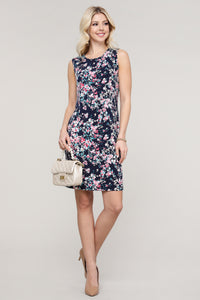 Navy and Pink Floral Sleeveless Dress