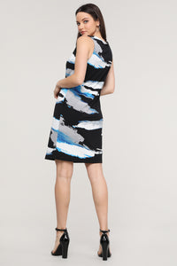 Sleeveless Black & Blue Abstract Dress