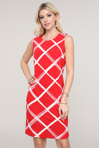 Red and Ivory Windowpane Sleeveless Dress