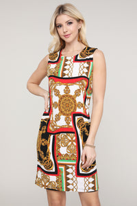 Red and Ivory Abstract Sleeveless Dress