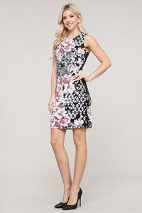 Black Abstract and Floral Sleeveless Dress