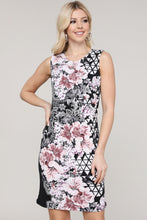 Load image into Gallery viewer, Black Abstract and Floral Sleeveless Dress