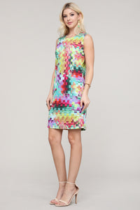 Multicolor Block Print Sleeveless Dress
