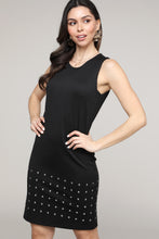 Load image into Gallery viewer, Black Sleeveless Studded Round Hole Dress