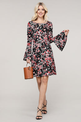 Black and Pink Floral Flare Sleeve Key Hole Neck Dress