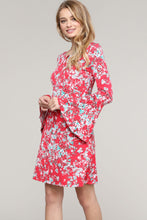 Load image into Gallery viewer, Red Floral Bell Sleeve Key-Hole Neck Dress