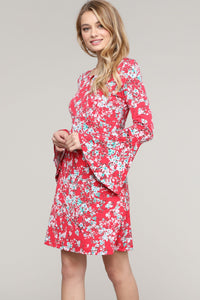 Red Floral Bell Sleeve Key-Hole Neck Dress