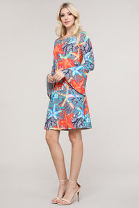 Coral and Blue Starfish Flare Sleeve Key Hole Neck Dress