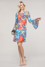 Load image into Gallery viewer, Coral and Blue Starfish Flare Sleeve Key Hole Neck Dress
