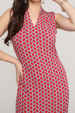 Load image into Gallery viewer, Red and Ivory Sleeveless V-Neck Dress