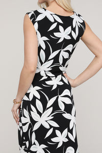 Black, Mint and Ivory Floral Sleeveless Side Ruched Dress