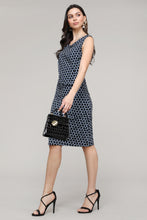 Load image into Gallery viewer, Black & Navy Geometric Sleeveless Side Ruched Dress