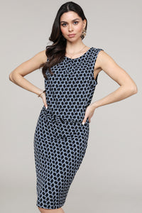 Black & Navy Geometric Sleeveless Side Ruched Dress