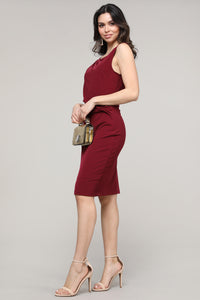 Crimson Sleeveless Side Ruched Dress