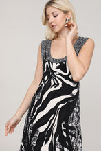 Load image into Gallery viewer, Black and Brown Animal Abstract Reversible Sleeveless Dress