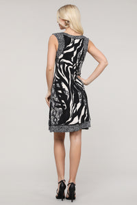 Black and Brown Animal Abstract Reversible Sleeveless Dress