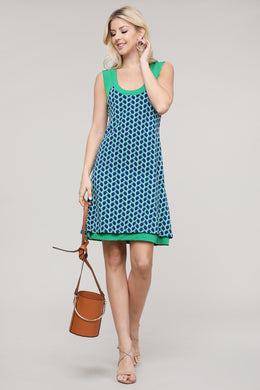 Blue and Green Geometric Abstract Reversible Sleeveless Dress