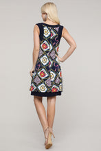 Load image into Gallery viewer, Navy and Ivory Abstract Reversible Sleeveless Dress