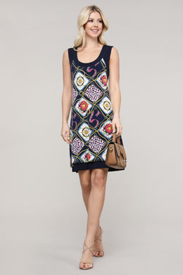 Navy and Ivory Abstract Reversible Sleeveless Dress