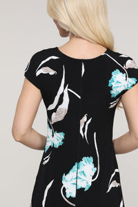 Aqua Floral and Black Reversible Cap Sleeve Dress