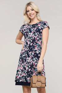 Navy Floral Reversible Cap Sleeve Dress