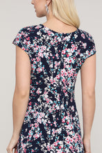 Load image into Gallery viewer, Navy Floral Reversible Cap Sleeve Dress