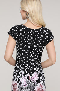 Black Abstract and Floral Reversible Cap Sleeve Dress