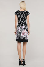 Load image into Gallery viewer, Black Abstract and Floral Reversible Cap Sleeve Dress