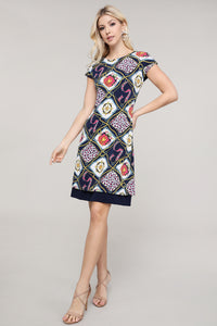 Navy and Ivory Abstract Reversible Cap Sleeve Dress
