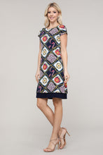 Load image into Gallery viewer, Navy and Ivory Abstract Reversible Cap Sleeve Dress
