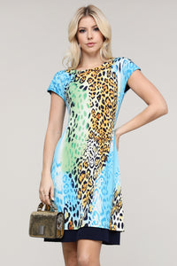 Multicolor Leopard Abstract Reversible Cap Sleeve Dress