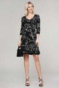 Black and Ivory Floral Reversible Three Quarter Sleeve Dress