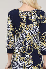 Load image into Gallery viewer, Navy Abstract Reversible Three Quarter Sleeve Dress