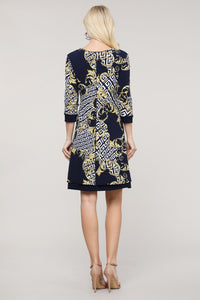 Navy Abstract Reversible Three Quarter Sleeve Dress