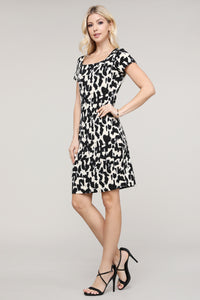 Black and Cream Abstract Cap Sleeve Dress
