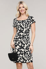 Load image into Gallery viewer, Black and Cream Abstract Cap Sleeve Dress