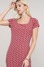 Load image into Gallery viewer, Red and Blue Geometric Print Cap Sleeve Dress