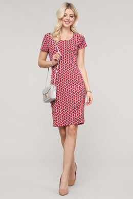 Red and Blue Geometric Print Cap Sleeve Dress